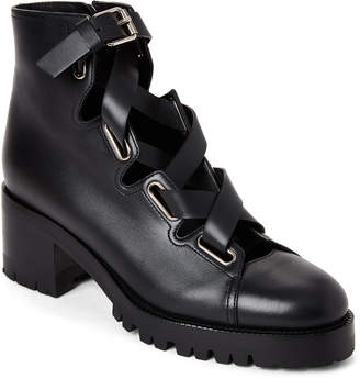 Valentino Black Leather Lace-Up Biker Boots