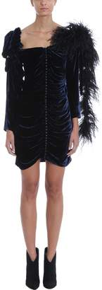 Magda Butrym Tefe Feather Trim Silk-blend Mini Dress
