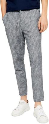 Topman Skinny Fit Stripe Cropped Pants