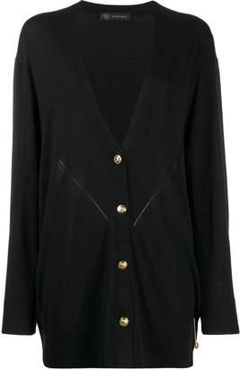Versace oversized safety pin V-neck cardigan