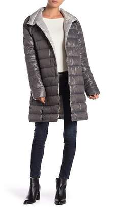 Kenneth Cole New York Quilted Funnel Collar Coat