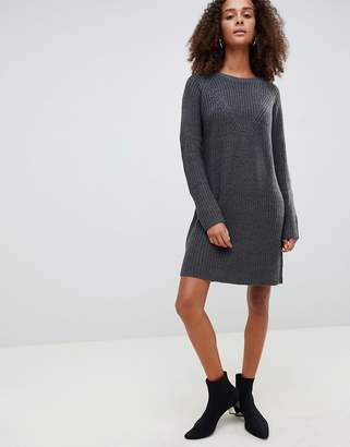 JDY crew neck knitted mini jumper dress in grey