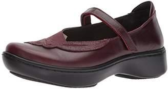 Naot Footwear Women's Bluegill Mary Jane Flat Bordeaux Violet Nubuck/Reptile Burgundy Leather