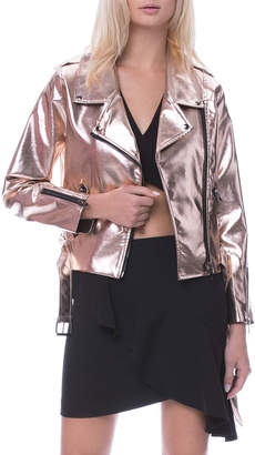 ENGLISH FACTORY Shiny Champagne Motorcycle Jacket