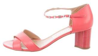 Salvatore Ferragamo Leather Ankle-Strap Sandals Coral Leather Ankle-Strap Sandals