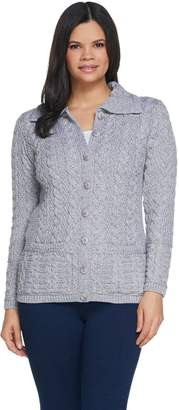 Aran Craft Merino Wool Long Sleeve Cardigan with Shawl Collar