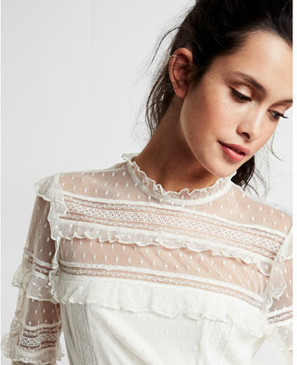 Express Pieced Lace Long Sleeve Blouse $59.90 thestylecure.com