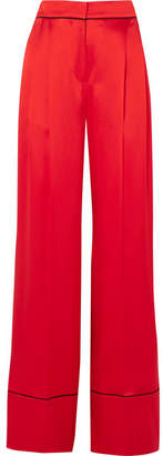 Alexander McQueen Silk-satin Wide-leg Pants - Red