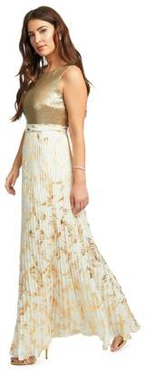 Ariella London - Gold 'Leia' Sequin Bodice Pleated Maxi Dress