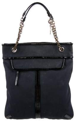 Lanvin Patent Leather-Trimmed Canvas Tote