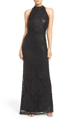 Women's Adrianna Papell Mock Neck Sequin Lace Gown $249 thestylecure.com