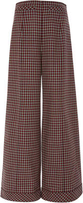 Courreges High-Waisted Houndstooth Wool Trousers