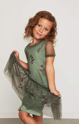 BCBGMAXAZRIA Floral Embroidered Mesh Dress