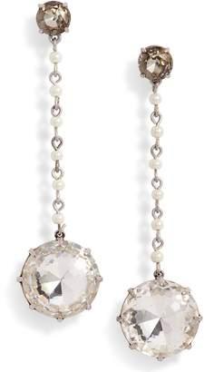 Tory Burch Imitation Pearl & Crystal Linear Earrings