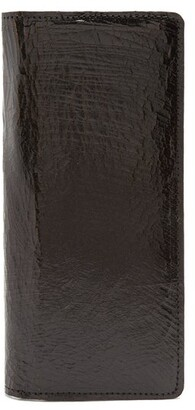 Marc Marmel Bi Fold Cracked Leather Passport Holder - Mens - Black
