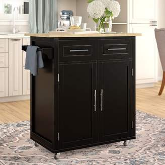 Alcott Hill Larocca Kitchen Cart with Wood Top Base