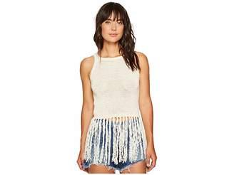 BB Dakota Yoko Tape Yarn Long Fringed Sweater Tank Top Women's Sleeveless