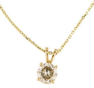 14K Diamond Solitaire Pendant Necklace