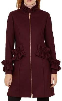Ted Baker Blaykly Ruffle-Trimmed Coat