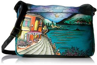 Anuschka Anna by Women's Genuine Leather Medium Shoulder Bag | Hand Painted Original Artwork | Zip-Top Organizer |Floral Paradise Tan