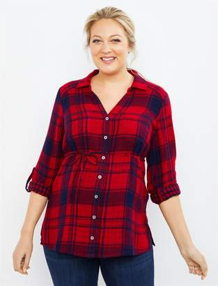 Motherhood Maternity Plaid Button Front Maternity Top