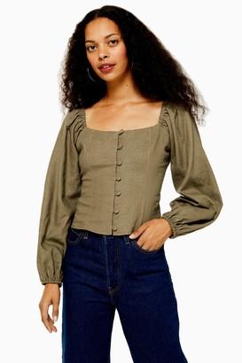 Topshop Womens Petite Linen Blend Button Down Prairie Top - Khaki