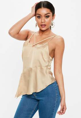 Missguided Champagne Satin Cross Front Peplum Cami Top