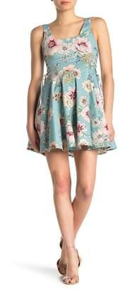 BAILEY BLUE Floral Lace-Up Mini Dress