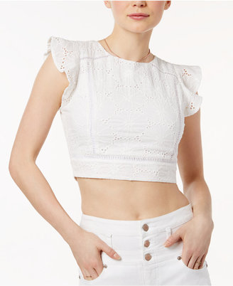 J.o.a. Cotton Eyelet Lattice-Back Crop Top $72 thestylecure.com