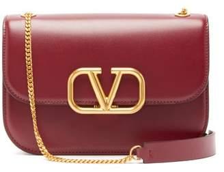Valentino Small V Sling Leather Cross Body Bag - Womens - Burgundy