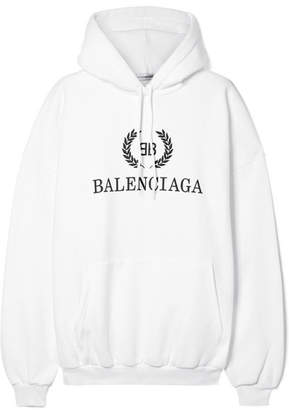 Balenciaga Oversized Printed Cotton-blend Jersey Hoodie - White