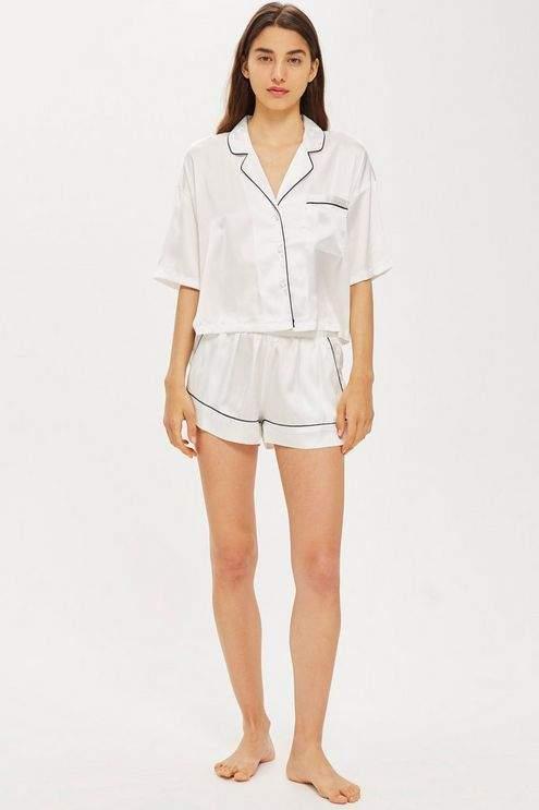 Satin shirt and shorts set