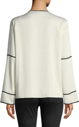 Donna Karan Contrast Trim Bell-Sleeve Blouse