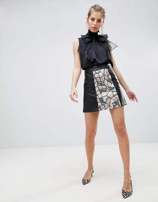 Traffic People Sequin Paneled Mini Skirt
