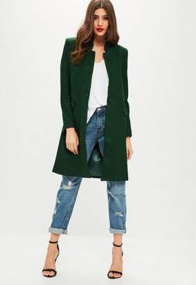 Missguided Green Wool Longline Coat