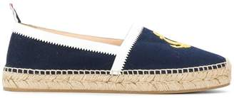Thom Browne Espadrille With Rubber Sole In Anchor Embroidered Canvas