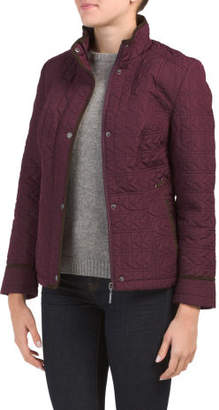 Petite Quilted Jacket With Faux Suede Lacing