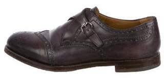 Gucci Leather Brogue Monk Strap Shoes