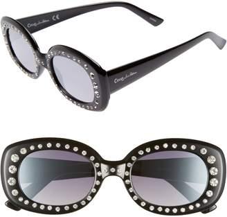 Sam Edelman 50mm Crystal Embellished Gradient Oval Sunglasses