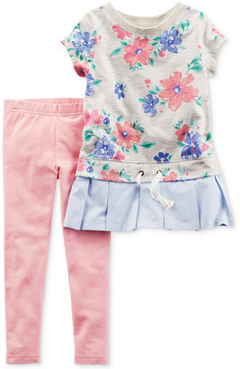Carter's 2-Pc. Floral-Print Peplum Tunic & Leggings Set, Baby Girls (0-24 months) $24 thestylecure.com