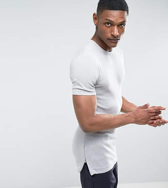 Asos TALL Longline Muscle Fit T-Shirt with Side Zips in Grey