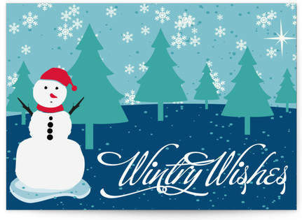 Wintry Wishes & snow man Self-Launch Cards