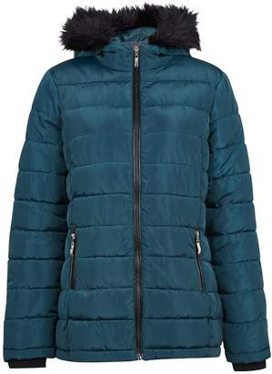 3ed140824cf Dorothy Perkins Womens Teal Faux Fur Hood Padded Coat