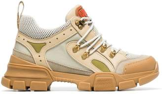 Gucci beige, green and brown flashtrek leather and mesh sneakers