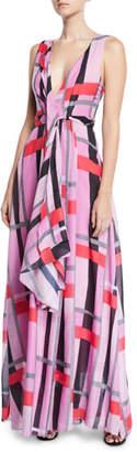 Josie Natori V-Neck Sleeveless Patterned Voile Maxi Dress