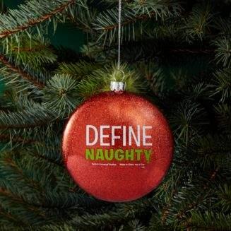 "Kurt Adler Grinch ""Define Naughty"" Glass Ornament"