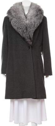 Sofia Cashmere Fur Trim Wool Coat