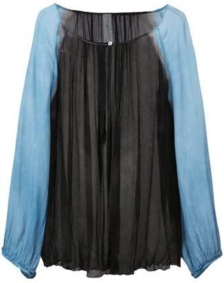 Raquel Allegra contrast sleeve sheer blouse