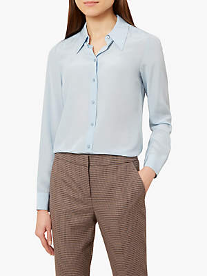 Hobbs Silk Athena Blouse, Pale Blue