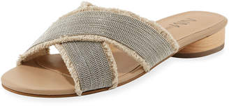 Neiman Marcus Brina Flat Canvas Slide Sandals, Neutral